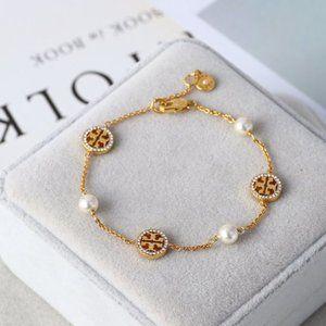 Tory Burch Pearl Asymmetric Glossy Icon Bracelet